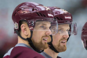 Photo - Vancouver Canucks' Henrik Sedin, right, and his twin brother Daniel Sedin, both of Sweden, watch during practice for the Heritage Classic NHL hockey game in Vancouver, British Columbia, on Saturday, March 1, 2014. The Canucks are scheduled to play the Ottawa Senators on Sunday. (AP Photo/The Canadian Press, Darryl Dyck)