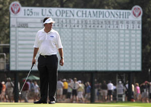 Photo - ADVANCE FOR WEEKEND EDITIONS, JUNE 7-8 - FILE - In this June 15, 2005, file photo, Phil Mickelson stands on the 18th green during a practice round for the 105th US Open Championship at the Pinehurst Resort and Country Club in Pinehurst, N.C. No one has ever had so many chance in one major without ever winning it. Somehow, he is as optimistic as ever. (AP Photo/Julie Jacobson, File)