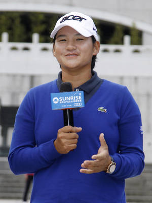 Photo -   Professional golfer Yani Tseng of Taiwan speaks during a press conference announcing the Taiwan Championship LPGA Golf tournament, Tuesday, Oct. 23, 2012 in Taipei, Taiwan. The tournament will be held at the Sunrise Golf & Country Club on Oct. 25-28. (AP Photo/Wally Santana)