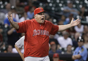 Photo - Los Angeles Angels manager Mike Scioscia questions the umpires on a Houston Astros pitching change in the seventh inning of a baseball game Thursday, May 9, 2013, in Houston. (AP Photo/Pat Sullivan)