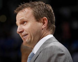 Photo - Thunder coach Scott Brooks likes his team because of how much the players care. Photo by Bryan Terry, The Oklahoman