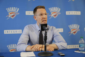 Photo - Oklahoma City Thunder General Manager Sam Presti gave his assessment of the Thunder's season and discussed plans and options for the team's future during a  media availability session at the Thunder practice facility Thursday, June 5, 2014.   Photo by Jim Beckel, The Oklahoman