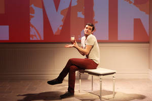 "Photo - This theater image released by Richard Kornberg & Associates shows Michael Urie during a performance of ""Buyer & Cellar,"" in New York. (AP Photo/Richard Kornberg & Associates, Sandra Coudert)"