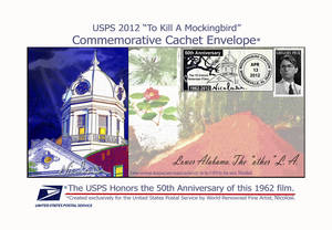 "Photo -   Officials at the Monroe County Heritage Museum and the U.S. Postal Service unveiled a stamp and this pictorial envelope celebrating the 50th anniversary of the movie based on the Pulitzer Prize-winning novel ""To Kill a Mockingbird,"" in Monroeville, Ala., Friday, April 13, 2012. About 100 people attended the unveiling to buy the envelopes and stamps, which were processed by the Postal Service to be collectors' items. The stamp and pictorial cancellation were designed by artist Nicolosi. The cancellation includes the top of the courthouse and a portion of a tree with a mockingbird on a tree limb. The envelope also includes the courthouse and says ""Lower Alabama. The 'other' L.A."" (AP Photo/Dave Martin)"