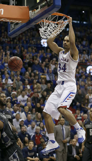 Photo - Homegrown talents like the Jayhawks' Perry Ellis have helped make Kansas a hotbed of college basketball. AP photo