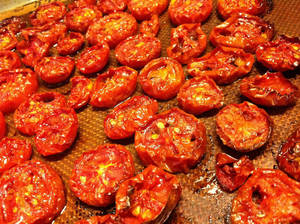 Photo - Roast tomatoes at 200 degrees for them to caramelize properly.