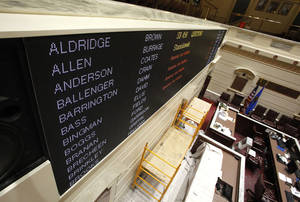 Photo - A new bill and vote display board was installed recently in the Senate chamber of the Oklahoma state Capitol. Photo By Paul Hellstern, The Oklahoman