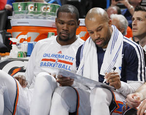 Photo -                    The next step in Derek Fisher's NBA career most likely involves coaching.                     Photo by Bryan Terry, The Oklahoman