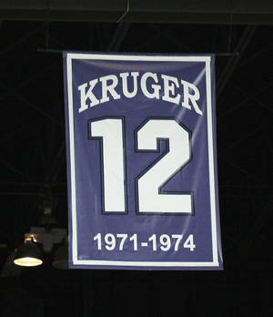 Photo - OU coach Lon Kruger's number hangs from the rafters at Bramlege Coliseum, where the Sooners will play Saturday. Kruger starred at Kansas State from 1971-74. He was a two-time Big Eight Player of the Year. AP photo