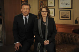 "Photo -   In this 2011 image released by NBC, Alec Baldwin portrays Jack Donaghy, left, and Tina Fey portrays Liz Lemon in the NBC comedy series, ""30 Rock."" The series will broadcast live on Thursday, April 26, 2012. (AP Photo/NBC, Ali Goldstein)"