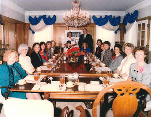 Photo - Then Governor Henry Bellmon at a luncheon for female school district superintendents, April 17, 1989. Photo provided. <strong>PROVIDED</strong>