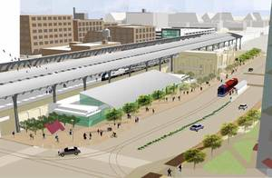 photo - An artist's rendering shows the proposed transportation hub included in MAPS 3 that would link various transportation options in the Oklahoma City area. Drawing Provided