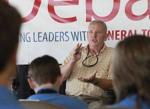 photo - Gen. Tommy Franks speaks at the Four Star Debate in Hobart, Wednesday,  July 13, 2011.   Photo by David McDaniel, The Oklahoman  ORG XMIT: KOD