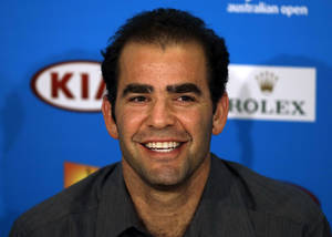 Photo - Former World No.1 Pete Sampras smiles during a press conference marking the 20th anniversary of his first Australian Open win,  at the Australian Open tennis championship in Melbourne, Australia, Friday, Jan. 24, 2014. (AP Photo/Aijaz Rahi)