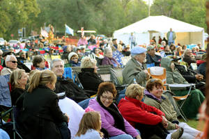 photo - An enthusiastic crowd listens to the music Saturday at the 16th annual Oklahoma International Bluegrass Festival in Guthrie. PHOTO PROVIDED