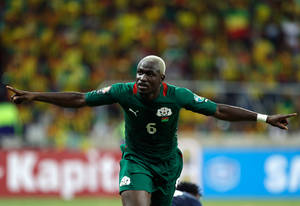 photo - Burkina Faso's Djakaridja Kone celebrates after scoring their third goal against Ethiopia during their African Cup of Nations group C match Friday, Jan. 25 2013 at the Mbombela stadium in Nelspruit, South Africa. The two other teams in group C are Nigeria and Zambia. (AP Photo/Armando Franca)