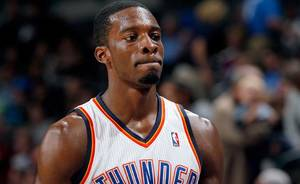 photo - Oklahoma City&#039;s Jeff Green reacts to the Thunder&#039;s loss in final minutes of the NBA basketball game between the Oklahoma CIty Thunder and Utah Jazz in the Oklahoma City Arena on Sunday, Oct. 31, 2010. Photo by Sarah Phipps, The Oklahoman 