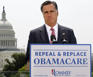 photo -   FILE - In this June 28, 2012, file photo Republican presidential candidate, former Massachusetts Gov. Mitt Romney speaks about the Supreme Court's health care ruling near the U.S. Capitol in Washington. In promoting the health care law, President Barack Obama is repeating his persistent and unsubstantiated assurance that Americans who like their health insurance can simply keep it. Romney says quite the opposite, but his doomsday scenario is a stretch. (AP Photo/Charles Dharapak, File)