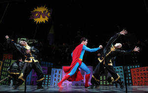 "Photo - This undated image released by Helene Davis Public Relations shows Edward Watts as Superman, center, in Encore's ""It's A Bird It's A Plane It's Superman,"" performing through March 24 at New York City Center in New York. (AP Photo/Helene Davis Public Relations, Joan Marcus)"