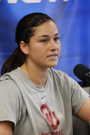 Photo - Lauren Chamberlain speaks as the University of Oklahoma Sooner (OU) softball team prepares to play Tennessee in a THE NCAA super regional tournament at Marita Hines Softball Stadium college on May 22, 2014 in Norman, Okla. Photo by Steve Sisney, The Oklahoman