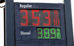 photo - Gasoline prices posted Monday at the Shell station at NW 36 Street and Portland in Oklahoma City. Photo by Paul B. Southerland, The Oklahoman