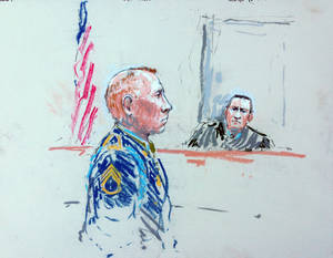 Photo - CORRECTS SPELLING OF ARTIST'S LAST NAME TO MILLETT INSTEAD OF MILLET - In this courtroom sketch, Staff Sgt. Robert Bales, left, appears before Judge Col. Jeffery Nance in a courtroom at Joint Base Lewis-McChord, Wash. on Tuesday, Aug. 20, 2013, during a sentencing hearing in the slayings of 16 civilians killed during pre-dawn raids on two villages on March 11, 2012. Haji Mohammad Naim, an Afghan farmer shot during a massacre in Kandahar Province last year, took the witness stand Tuesday against Bales, who attacked his village, cursing him before breaking down and pleading with the prosecutor not to ask him any more questions.  (AP Photo/Peter Millett)