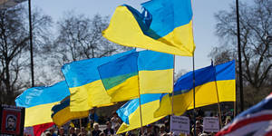 Photo - Ukrainian flags are pictured as demonstrators march through the streets of London on March 16, 2014, in protest against Russia's actions in Crimea and Ukraine. Crimeans voted Sunday in a unique referendum on breaking away from Ukraine to join Russia that has precipitated a Cold War-style security crisis on Europe's eastern frontier.  AFP PHOTO / ANDREW COWIE        (Photo credit should read ANDREW COWIE/AFP/Getty Images)