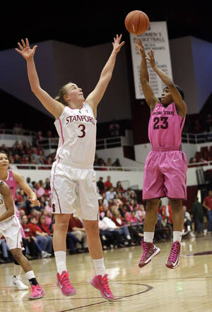 photo - Arizona State 's Elisha Davis (23) shoots over Stanford 's Mikaela Ruef (3) during the second half of an NCAA college basketball game in Stanford, Calif., Sunday, Feb. 10, 2013. Stanford won 69-45. (AP Photo/Marcio Jose Sanchez)