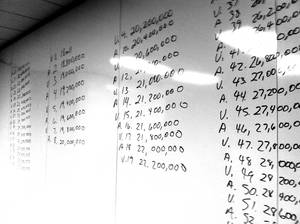 Photo - Bids submitted during a bankruptcy auction for FCC licenses were hand-written on a whiteboard at an Oklahoma City law office on Monday. Verizon Wireless was the winning bidder of 18 FCC licenses for 3G and 4G rights belonging to the failed Oklahoma City company Stelera Wireless. <strong>Brianna Bailey - Brianna Bailey</strong>