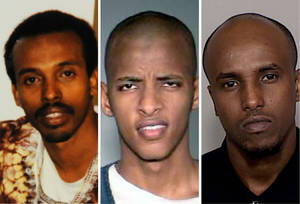 Photo -   FILE - This combination of undated file photos shows, from left: Mohamud Said Omar, Abdifatah Yusuf Isse and Salah Osman Ahmed. Ahmed and Isse, who are among more than 20 young men who left Minnesota since 2007 to join al-Shabab, are expected to testify against Omar who is accused of helping to send fighters and money to the al-Qaida linked group in Somalia. Omar faces five terror-related charges in a federal a trial in Minneapolis. (AP File Photos)