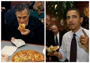 "Photo -   In this combination of file photos, Republican presidential candidate former Mass. Gov. Mitt Romney, left, takes a bite of pizza during lunch with his wife Ann while campaigning at Village Pizza in Newport, N.H., Dec. 20, 2011, and then-Senator Barack Obama, right, takes a bite of pizza at American Dream Pizza in Corvallis, Ore., March 21, 2008. Pizza Hut is offering a lifetime of free pizza, one large pie a week for 30 years, or a check for $15,600 to anyone who poses the question ""Sausage or pepperoni?"" to either President Barack Obama or Republican candidate Mitt Romney during the live Town Hall-style debate next Tuesday, Oct. 16, 2012. (AP Photo)"
