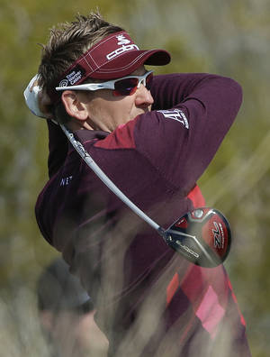 photo - England's Ian Poulter tees off the seventh hole in the second round of play against Bo Van Pelt during the Match Play Championship golf tournament, Friday, Feb. 22, 2013, in Marana, Ariz. (AP Photo/Julie Jacobson)
