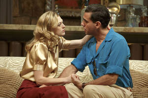 "Photo - This publicity image released by Polk PR shows Marin Ireland, left, and Bobby Cannavale in a scene from Clifford Odets' drama ""The Big Knife"", currently performing on Broadway at the Roundabout Theatre Company's American Airlines Theatre in New York. (AP Photo/Polk PR, Joan Marcus)"