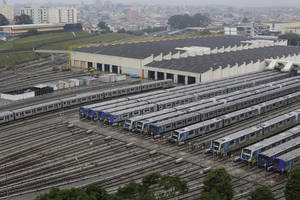 Photo - Metro trains sit parked on the second day of a strike by the operators in Sao Paulo, Brazil, Friday, June 6, 2014. Overland commuter train operators went on strike Thursday, stranding the millions of people who use Sao Paulo's public transport systems. (AP Photo/Nelson Antoine)