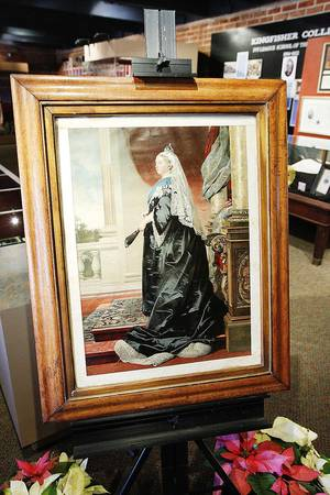 photo - A print from the 1800s of Queen Victoria is on display at the Chisholm Trail Museum in Kingfisher.  Photos by Paul B. Southerland, The Oklahoman