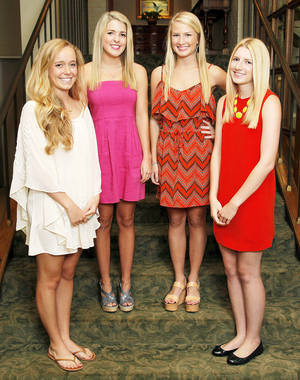 photo - From left, Beaux Arts Debutantes Molly Marso, Madison Lucas, Emily Cox and Caroline Cox pose for a photo at Oklahoma City Golf and Country Club in Nichols Hills, Okla., Wednesday, May 23, 2012. Photo by Nate Billings, The Oklahoman