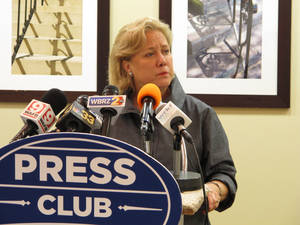 Photo - U.S. Sen. Mary Landrieu speaks to the Press Club of Baton Rouge on Monday, April 7, 2014. Landrieu dodged questions about state legislation seeking to undo a lawsuit filed by a south Louisiana levee board against oil and gas companies. (AP Photo/Melinda Deslatte)