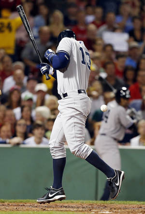Photo - New York Yankees' Alex Rodriguez is hit by a pitch from Boston Red Sox's Ryan Dempster in the second inning of a baseball game in Boston, Sunday, Aug. 18, 2013. (AP Photo/Michael Dwyer)