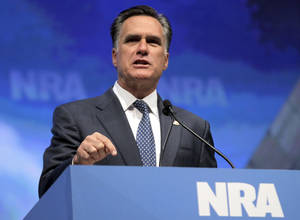 Photo -   Republican presidential candidate, former Massachusetts Gov. Mitt Romney speaks at the National Rifle Association convention in St. Louis, Friday, April 13, 2012. (AP Photo/Michael Conroy)