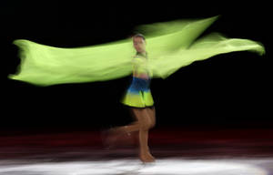 Photo - Adelina Sotnikova of Russia performs during the figure skating exhibition gala at the Iceberg Skating Palace during the 2014 Winter Olympics, Saturday, Feb. 22, 2014, in Sochi, Russia. (AP Photo/Bernat Armangue)