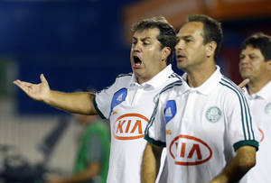 photo - Palmeiras' coach Gilson, left, gestures during a Copa Libertadores soccer match against Argentina's Tigre in Buenos Aires, Argentina,  Wednesday, March 6, 2013. Tigre won 1-0. (AP Photo/Victor R. Caivano)