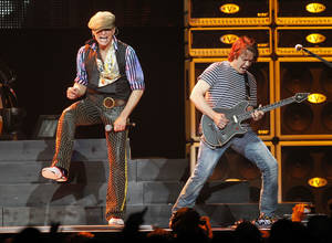 Photo - David Lee Roth, left, and Eddie Van Halen perform during a Van Halen concert at Madison Square Garden, Thursday, March 1, 2012 in New York. (AP Photo/Jason DeCrow) <strong>Jason DeCrow</strong>