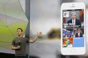 Photo -  Facebook CEO Mark Zuckerberg gestures while delivering the keynote address at the f8 Facebook Developer Conference on Wednesday in San Francisco. AP Photo  <strong>Ben Margot -  AP </strong>