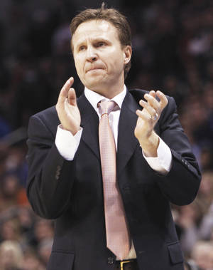 Photo - Thunder coach Scott Brooks says he doesn't care about individual awards, but he may be a candidate for NBA Coach of the Year.  PHOTO BY NATE BILLINGS, THE OKLAHOMAN
