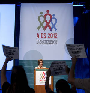 photo -   House Minority Leader Nancy Pelosi of Calif. speaks at the 2012 International AIDS Conference, Friday, July 27, 2012, in Washington. (AP Photo/Haraz N. Ghanbari)