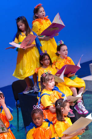 "Photo - Participants in the Oklahoma Children's Theatre summer camp in musical theater sing, ""I Know It's Today,"" from the movie ""Shrek."""