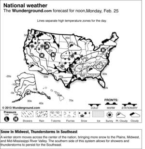 photo - A winter storm moves across the center of the nation, bringing more snow to the Plains, Midwest, and Mid-Mississippi River Valley. The southern side of this system allows for showers and thunderstorms to persist for the Southeast.