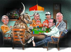 Photo - Texas athletic director DeLoss Dodds, Bevo, Texas coach Mack Brown, OU coach Bob Stoops, former Big 12 commissioner Dan Beebe and OU president David Boren. Illustration by Todd Pendleton, The Oklahoman