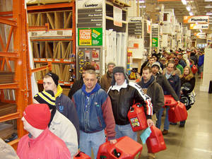 Photo - Home Depot shoppers line up to buy gasoline containers after an ice storm. PHOTO PROVIDED