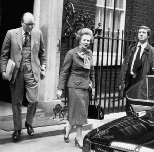 Photo - FILE - In this April 14, 1982 file photo, British Prime Minister Margaret Thatcher leaves her official 10 Downing Street residence in London, for an emergency session of Parliament on the Falklands crisis. She called it, simply, the worst moment of her life.  It came in March 1982 during the days before the Falklands War, after Argentina established an unauthorized presence on Britain's South Georgia island amid talk of a possible invasion of the Falklands, long held by Britain.  The vivid picture of Thatcher's feelings of helplessness and rage,  and eventual resolve are portrayed in thousands of pages of formerly Secret documents released by the National Archives on Friday, Dec. 28, 2012.  (AP Photo/Bob Dear, File)